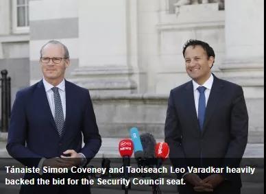 爱尔兰赢得2021-22年联合国安理会席位