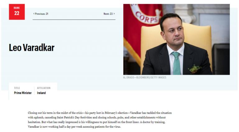 """战斗在一线的爱尔兰总理入选""""世界抗疫领袖"""""""